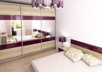 Обзавеждане за спалня в бял дъб и лилав гланц