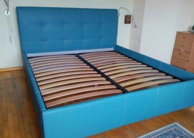 1022. Тапицирана спалня по поръчка със синя тапицерия